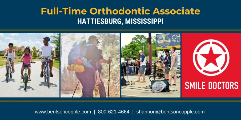 Smile Doctors is seeking a full-time orthodontic associate career job opportunity in Hattiesburg, Mississippi.