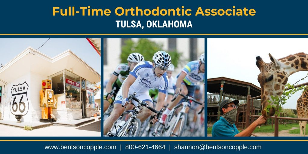 An orthodontic practice with two locations located in Tulsa, Oklahoma is seeking a motivated full-time orthodontic associate