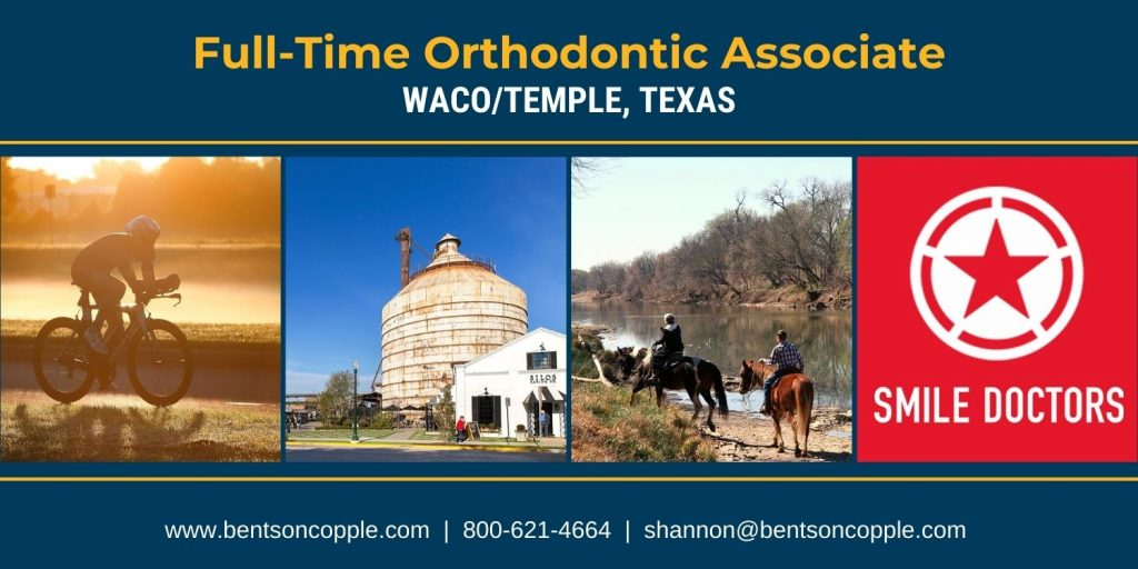 Smile Doctors is seeking a full-time orthodontist to join their team in Waco/Temple, Texas.