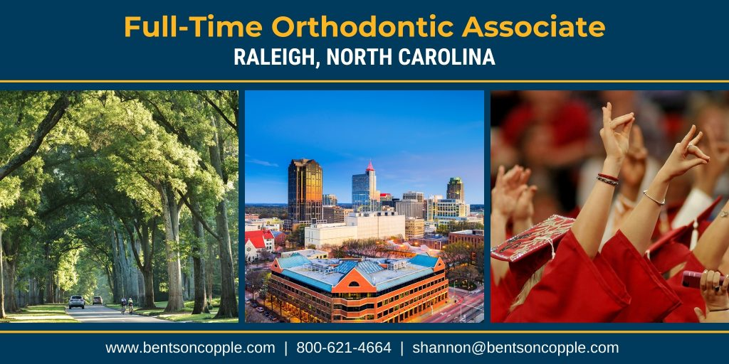 A family-friendly and welcoming orthodontic office in Raleigh, North Carolina has a great opportunity for an orthodontic associate doctor.