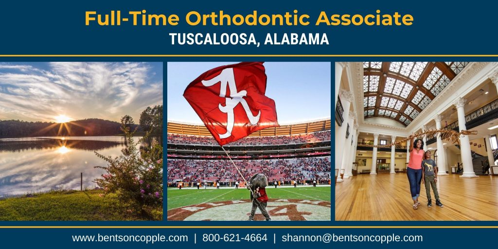 A growing orthodontic practice is seeking a full-time associate orthodontist in Tuscaloosa, Alabama.