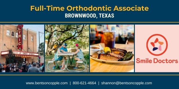 Smile Doctors is seeking a full-time orthodontist to join their team in Brownwood, Texas. This opportunity offers a pathway for partnership for the right candidate.